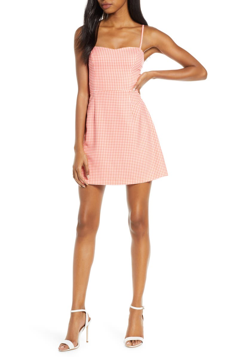 FRENCH CONNECTION Gingham Tie Back Sleeveless Minidress, Main, color, 100