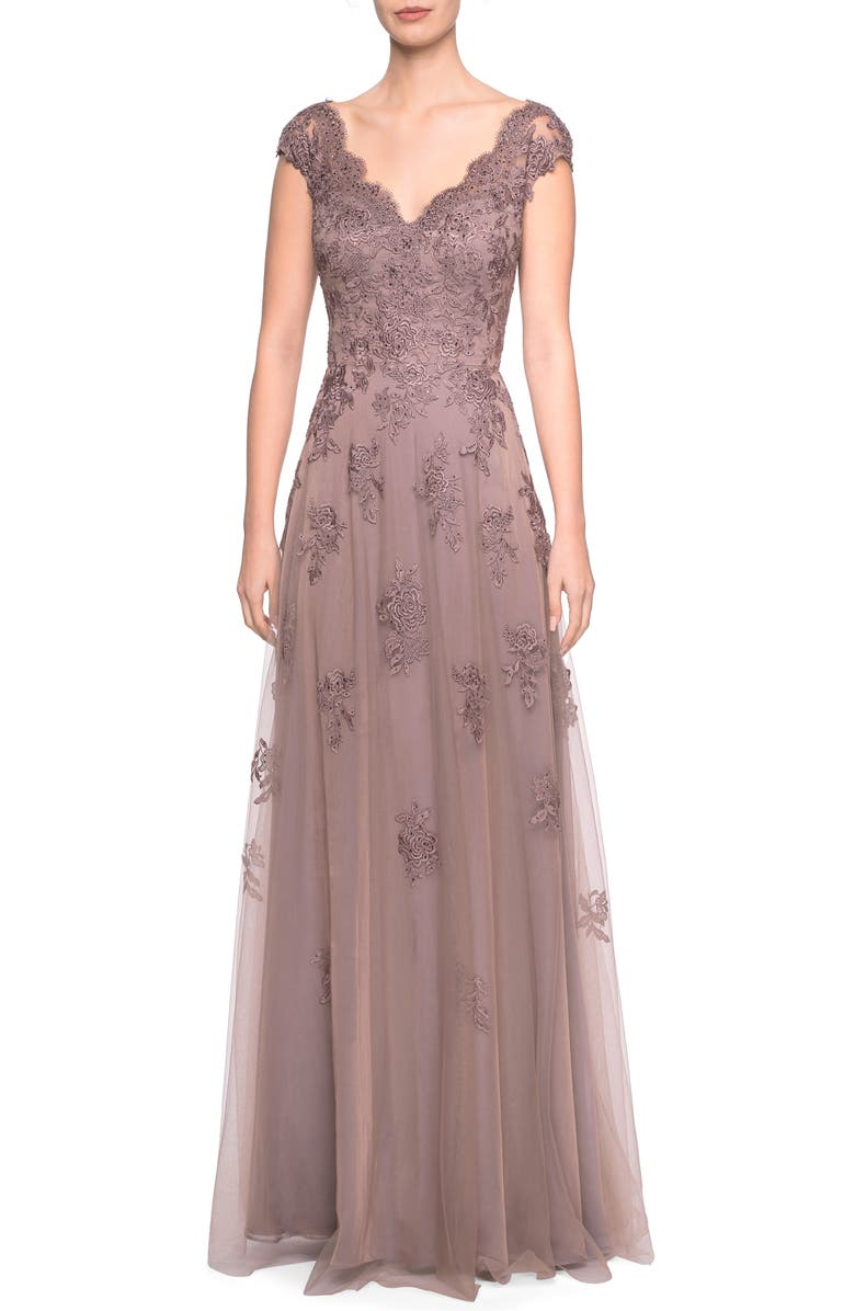 LA FEMME Embellished Tulle & Lace A-Line Gown, Main, color, COCOA