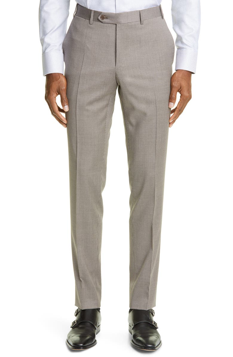 CANALI Milano Mini Houndstooth Stretch Wool Dress Pants, Main, color, 200