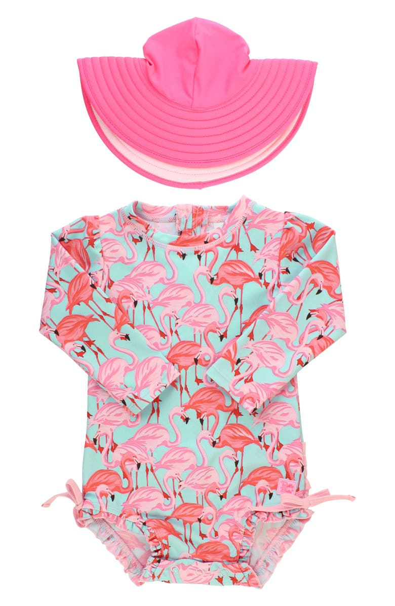 RUFFLEBUTTS Flamingo One-Piece Rashghuard Swimsuit & Hat Swim Set, Main, color, 400