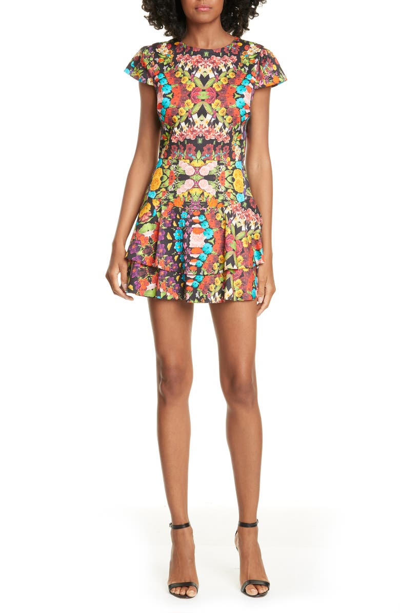 ALICE + OLIVIA Ainsley Floral Double Ruffle Stretch Cotton Minidress, Main, color, 001