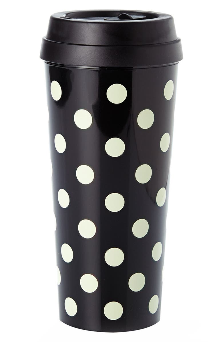 KATE SPADE NEW YORK dot thermal travel mug, Main, color, 001