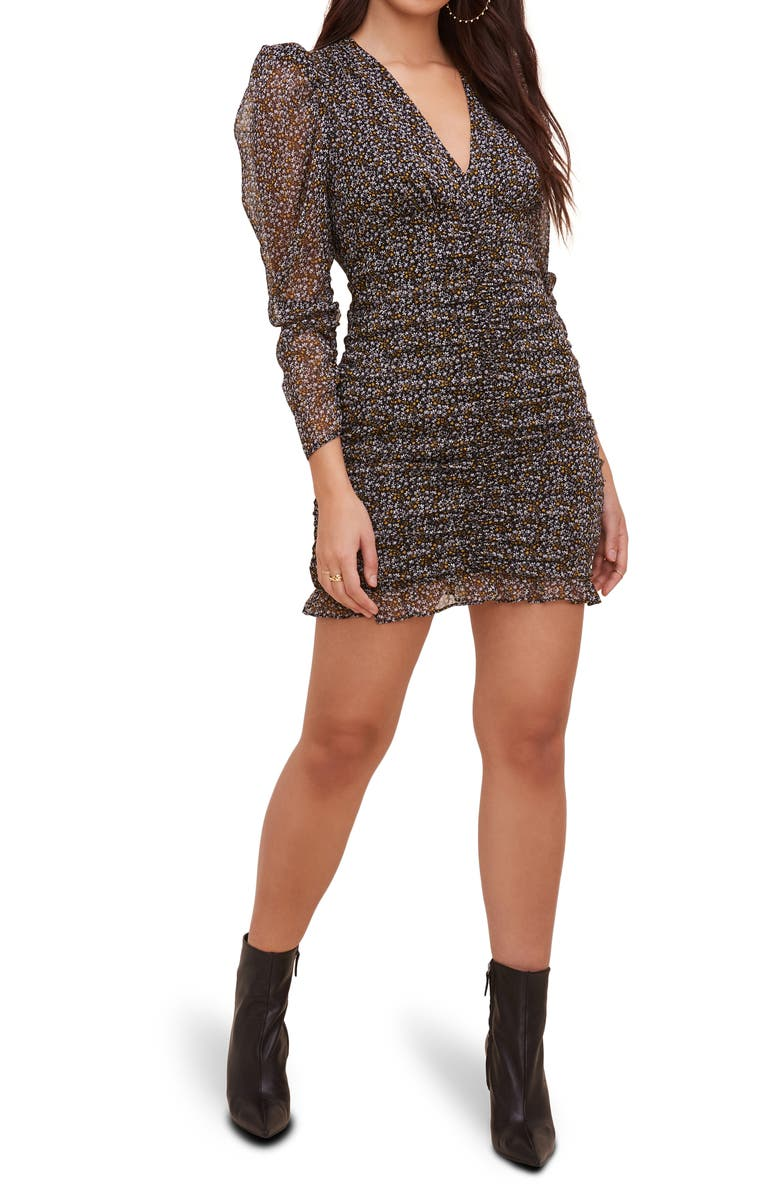 ASTR the Label Ruched Long Sleeve Minidress, Main, color, 001