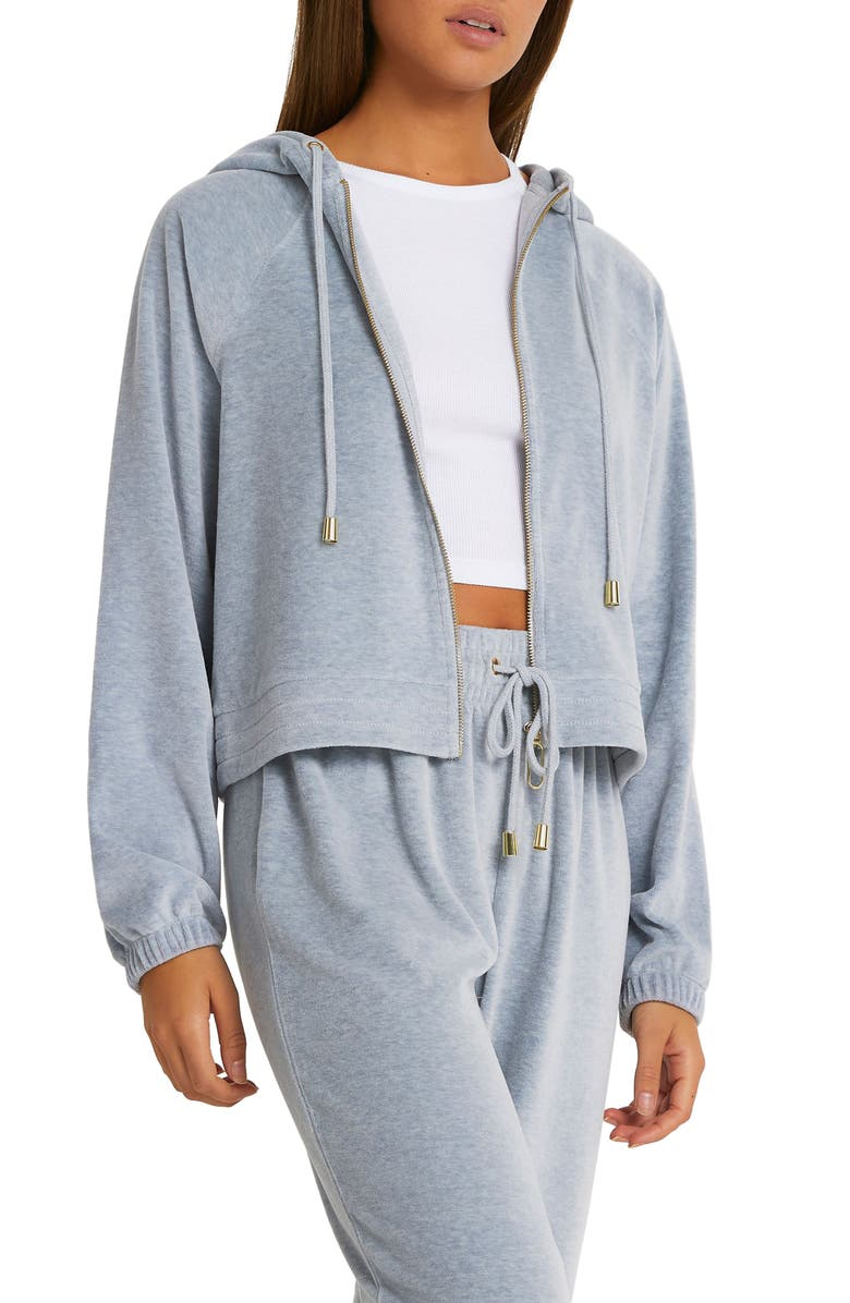 RIVER ISLAND Velour Zip Hoodie, Main, color, Grey