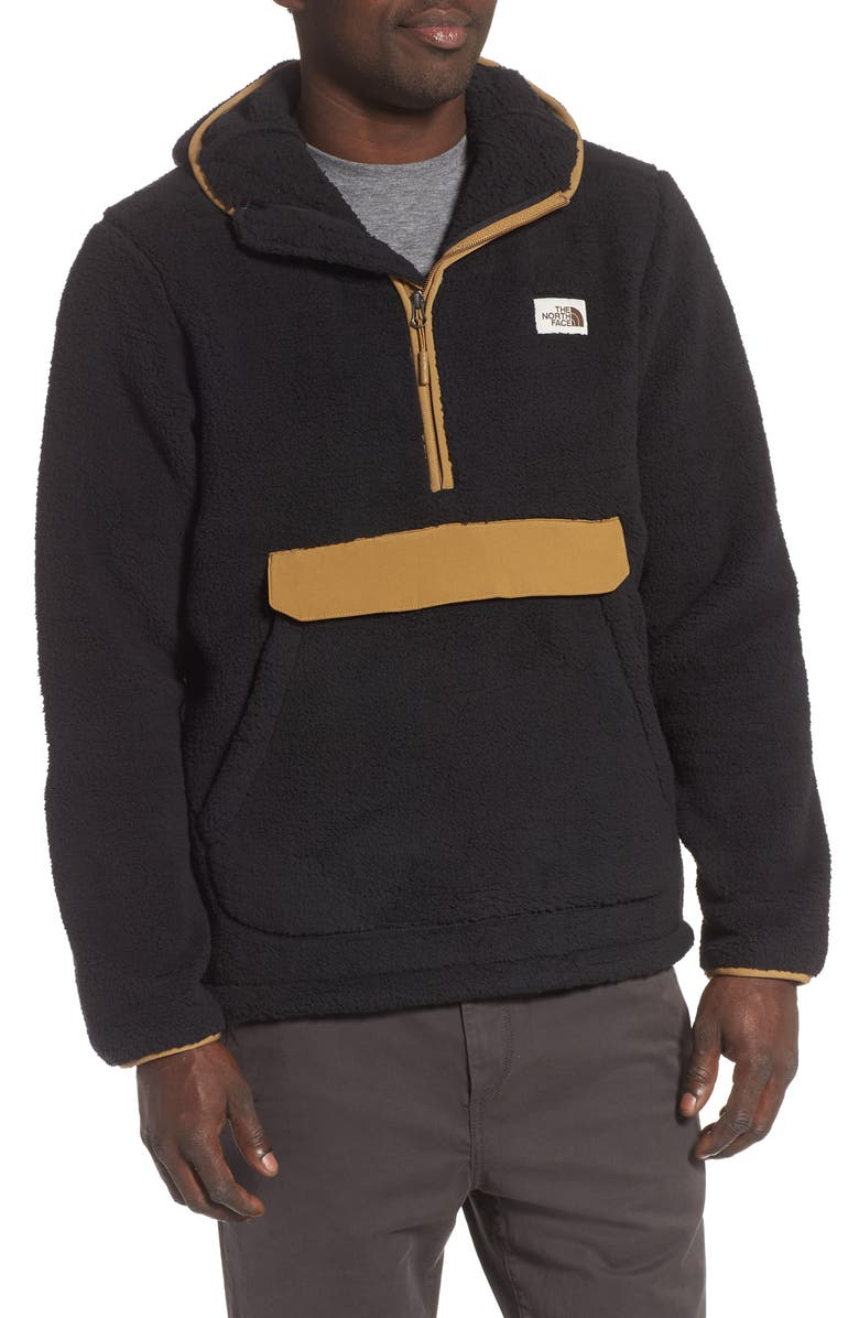 THE NORTH FACE Campshire Faux Fur Pullover Hoodie, Main, color, 001
