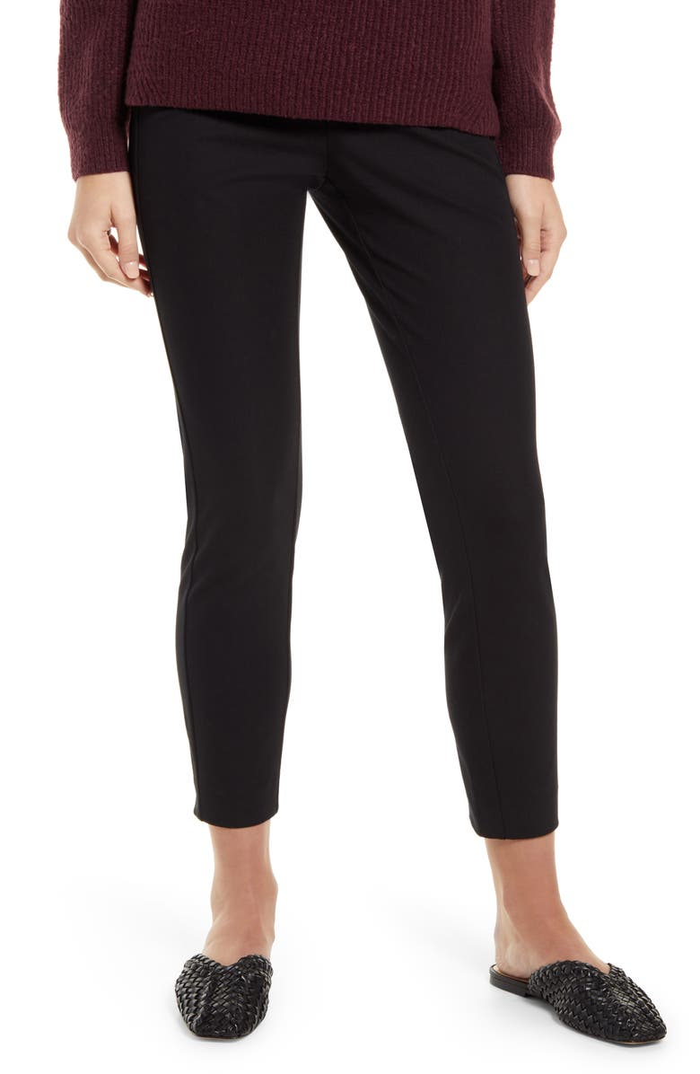 NORDSTROM Everyday Skinny Fit Stretch Cotton Ankle Pants, Main, color, BLACK