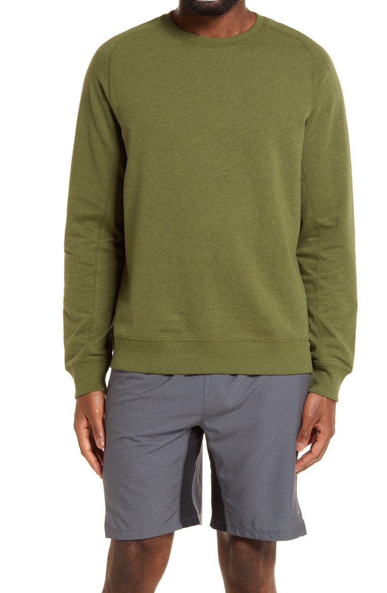 ZELLA Crewneck Fleece Sweatshirt, Main, color, GREEN CYPRESS MELANGE