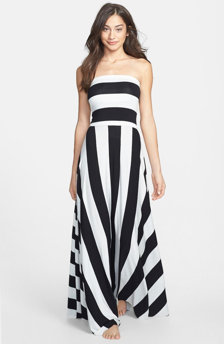 ELAN Stripe Convertible Bias Cut Cover-Up Maxi Dress, Main, color, 003