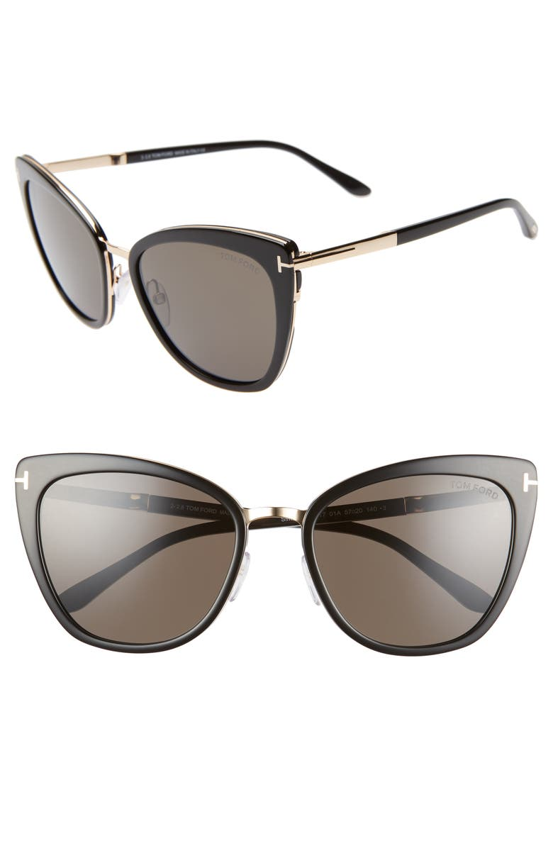 TOM FORD Simona 56mm Cat Eye Sunglasses, Main, color, 001