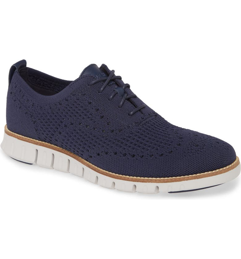 COLE HAAN ZeroGrand Waffle Stitchlite Oxford, Main, color, MARINE BLUE WAF KNIT