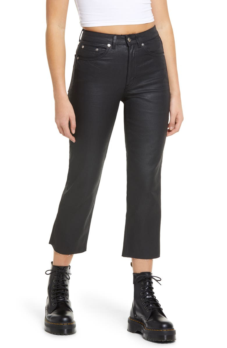 TOPSHOP Coated High Waist Crop Straight Jeans, Main, color, 001