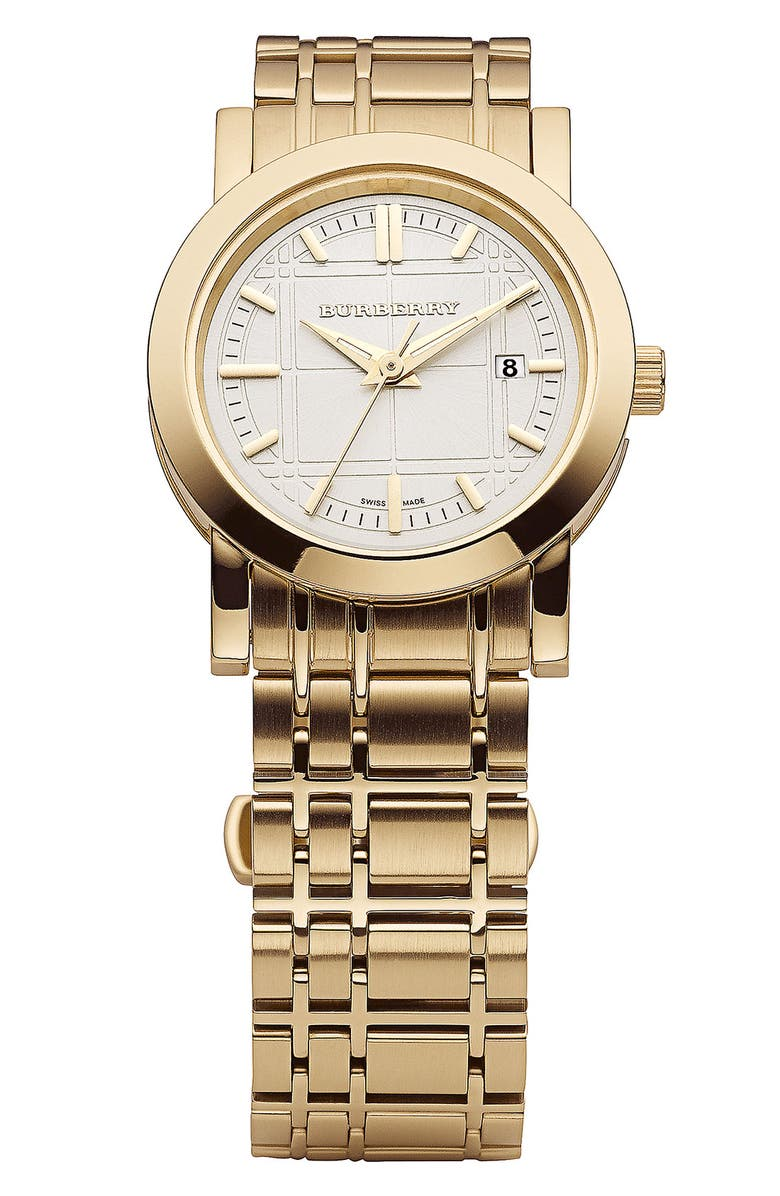 BURBERRY Gold Plated Bracelet Watch, 28mm, Main, color, 710