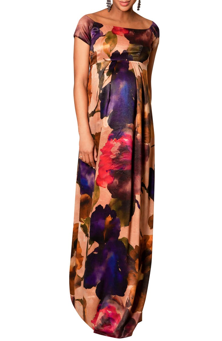 TIFFANY ROSE Aria Floral Maternity Gown, Main, color, EXOTIC BLOOM