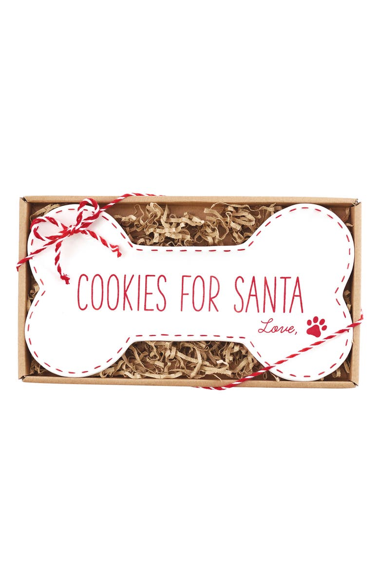 MUD PIE Cookies for Santa Plate, Main, color, WHITE/ RED