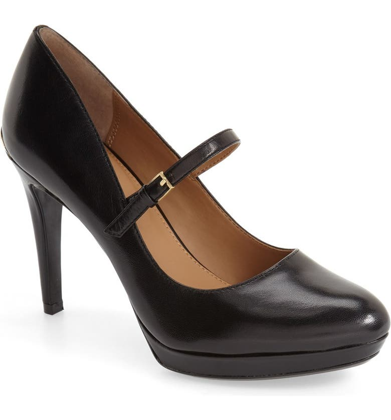 CALVIN KLEIN 'Paislie' Mary Jane Pump, Main, color, BLACK SMOOTH LEATHER