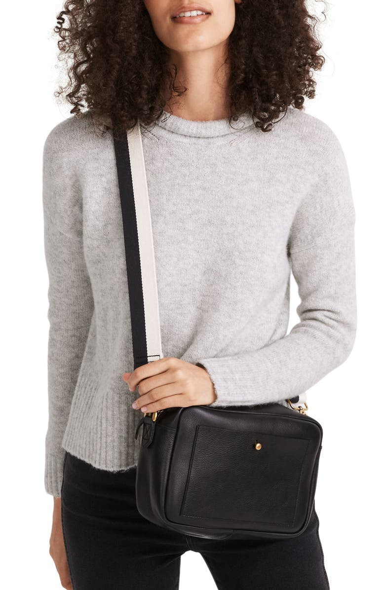 MADEWELL Fulton Puff Neck Trim Pullover, Main, color, HEATHER FOG