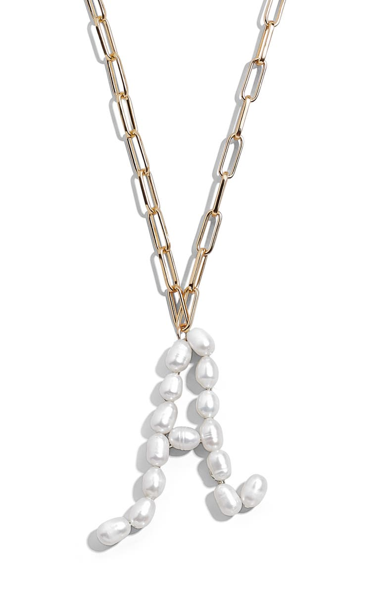 BAUBLEBAR Blair Hera Genuine Pearl Initial Pendant Necklace, Main, color, PEARL A