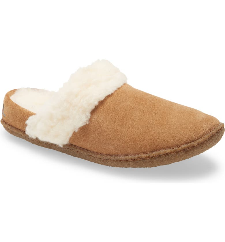 SOREL Nakiska II Faux Shearling Lined Slide Slipper, Main, color, CAMEL BROWN/ NATURAL