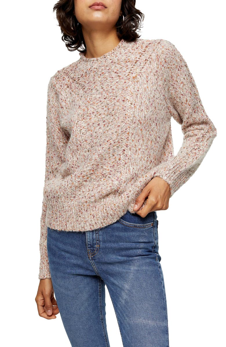TOPSHOP Pointelle Sweater, Main, color, 900