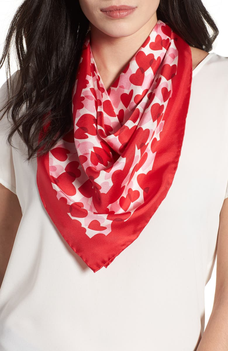KATE SPADE NEW YORK heart party silk square scarf, Main, color, 644