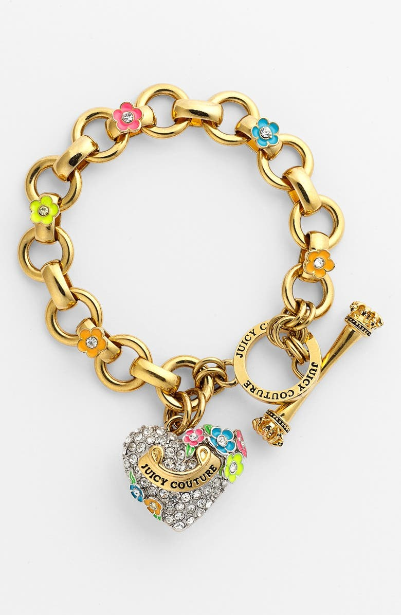 JUICY COUTURE 'Blooming Hearts' Charm Bracelet, Main, color, PINK MULTI/ CLEAR/ GOLD