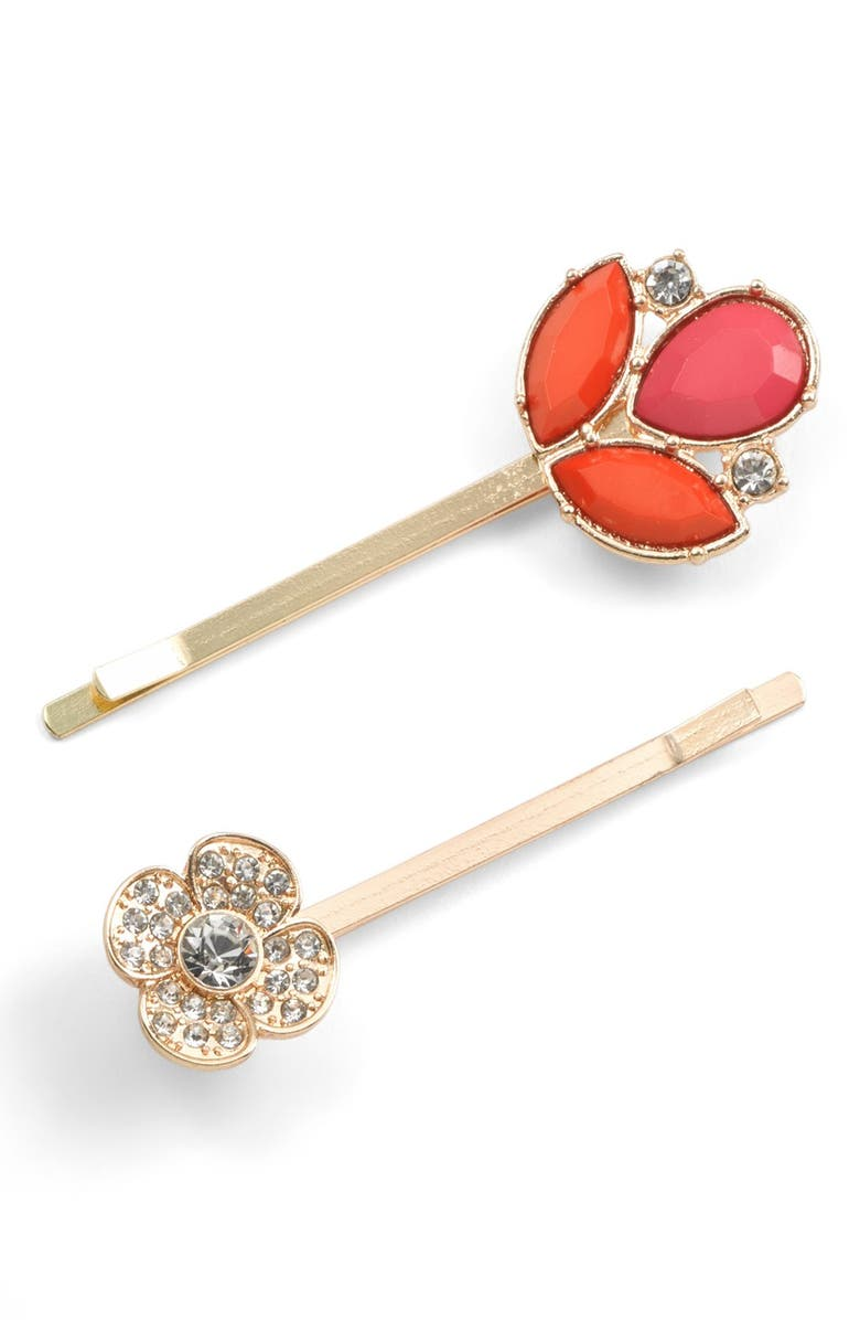 BERRY 'Jeweled Leaf' Bobby Pins, Main, color, RED/ PINK/ CRYSTAL