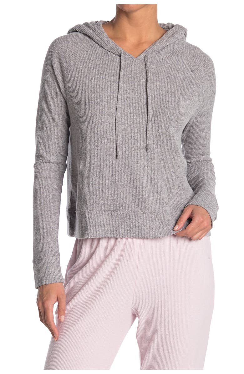 FREE PRESS Brushed Rib Knit Lounge Hoodie, Main, color, GREY DRIZZLE MARL