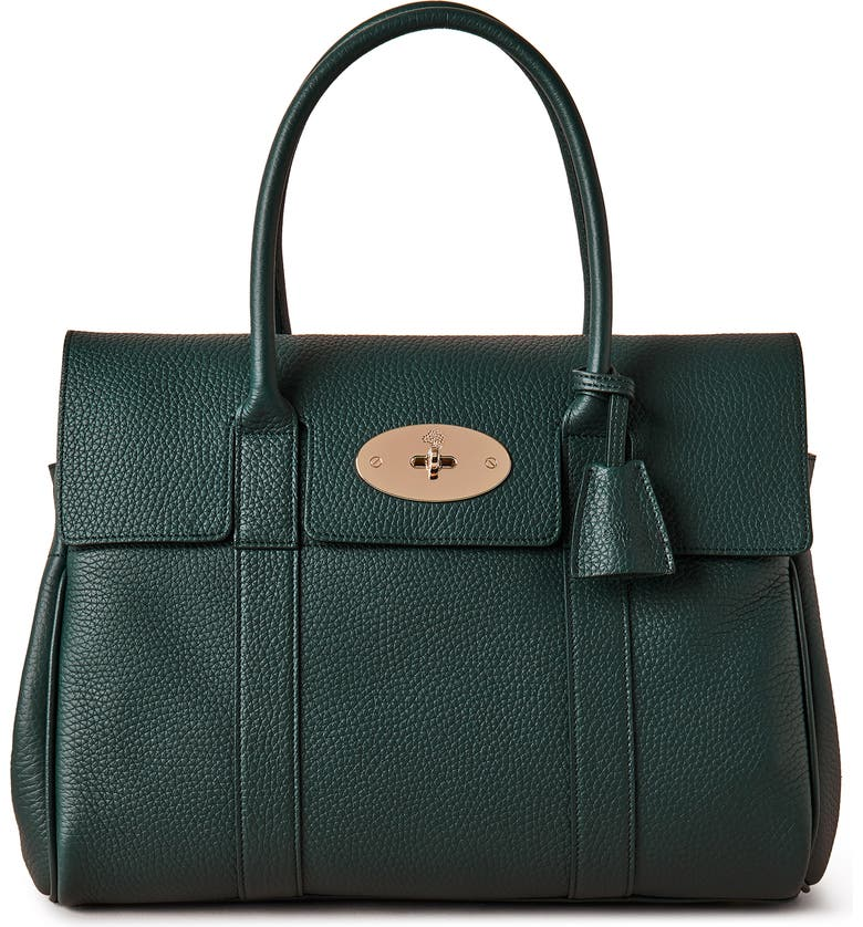 MULBERRY Bayswater Leather Satchel, Main, color, MULBERRY GREEN