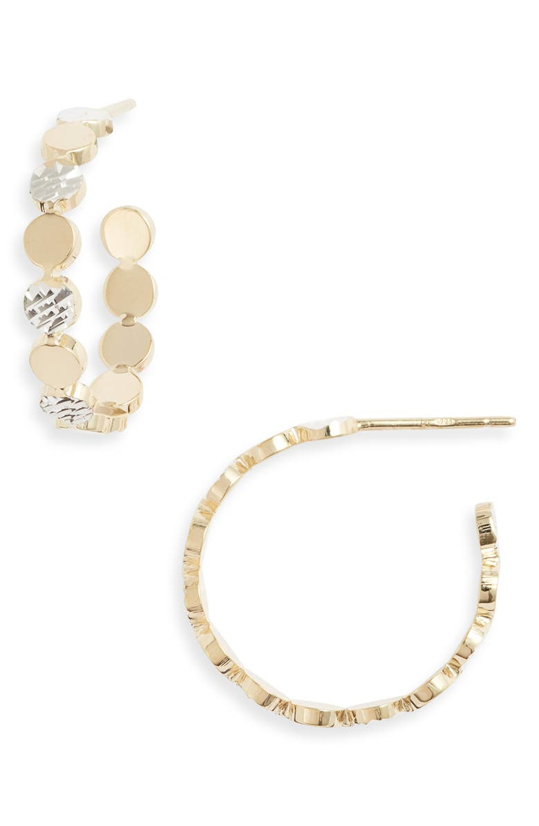 JENNIFER ZEUNER Bea Small Two-Tone Hoop Earrings, Main, color, 710