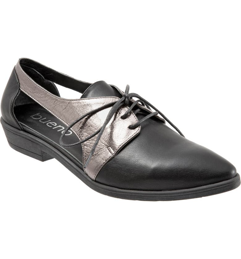 BUENO Olivia Derby Flat, Main, color, BLACK/PEWTER METALLIC