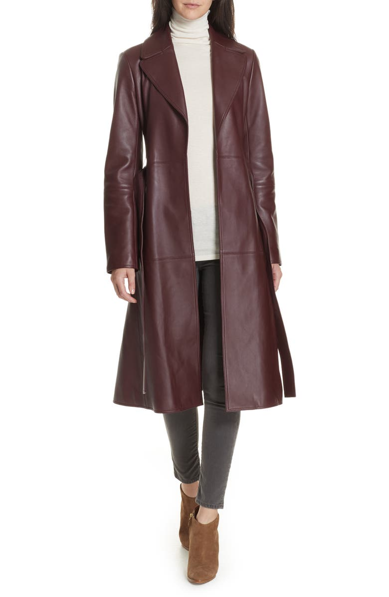 THEORY Nappa Leather Trench Coat, Main, color, 611