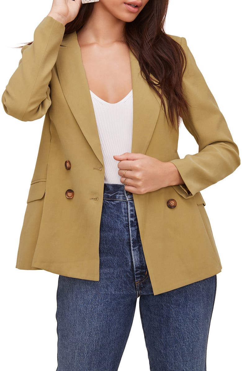 ASTR THE LABEL Pleat Detail Fitted Blazer, Main, color, VINTAGE GOLD