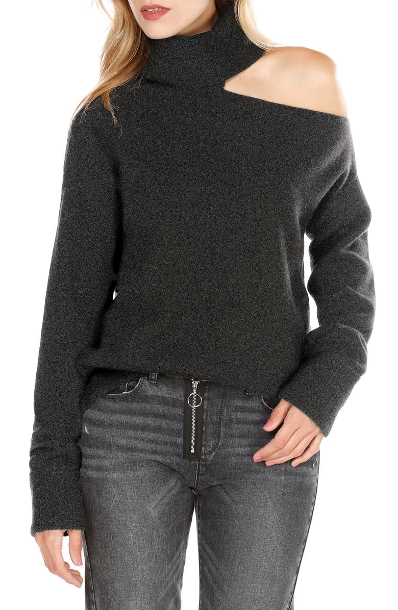 PAIGE Raundi Cutout Shoulder Sweater, Main, color, BLACK