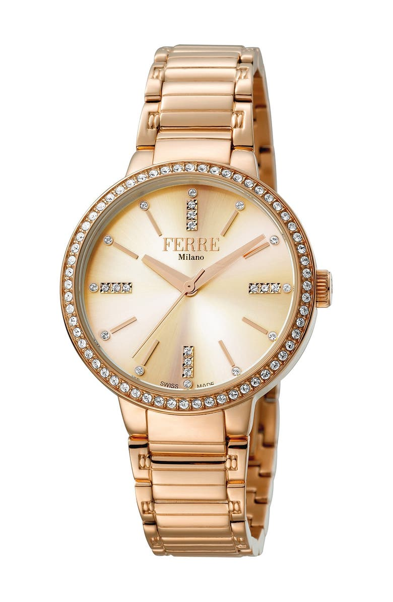 FERRE MILANO Women's Donna Giada Stainless Steel Watch, 34mm, Main, color, ROSE GOLD