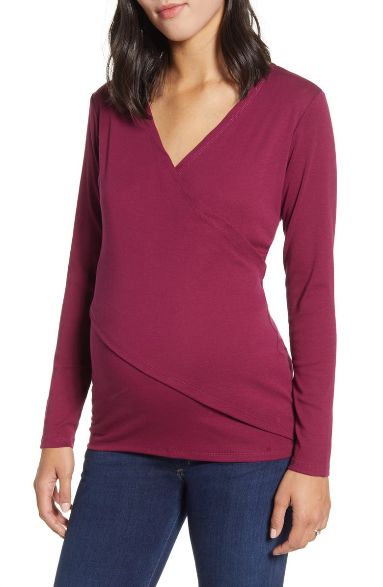 ANGEL MATERNITY Crossover Maternity/Nursing Top, Main, color, BURGUNDY RED