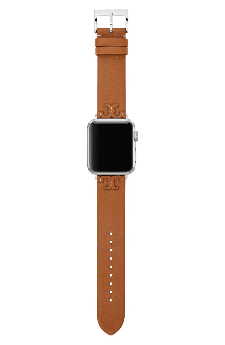 TORY BURCH McGraw Leather Strap for Apple Watch<sup>®</sup>, 38mm/40mm, Main, color, BROWN