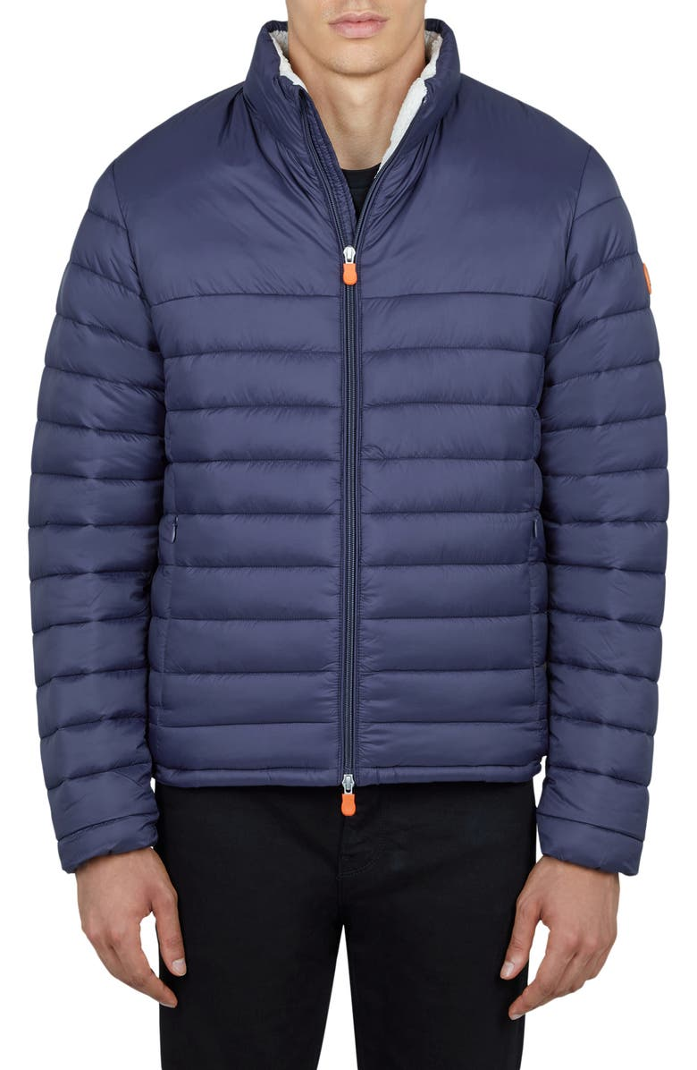 SAVE THE DUCK Faux Shearling Lined Puffer Jacket, Main, color, NAVY BLUE