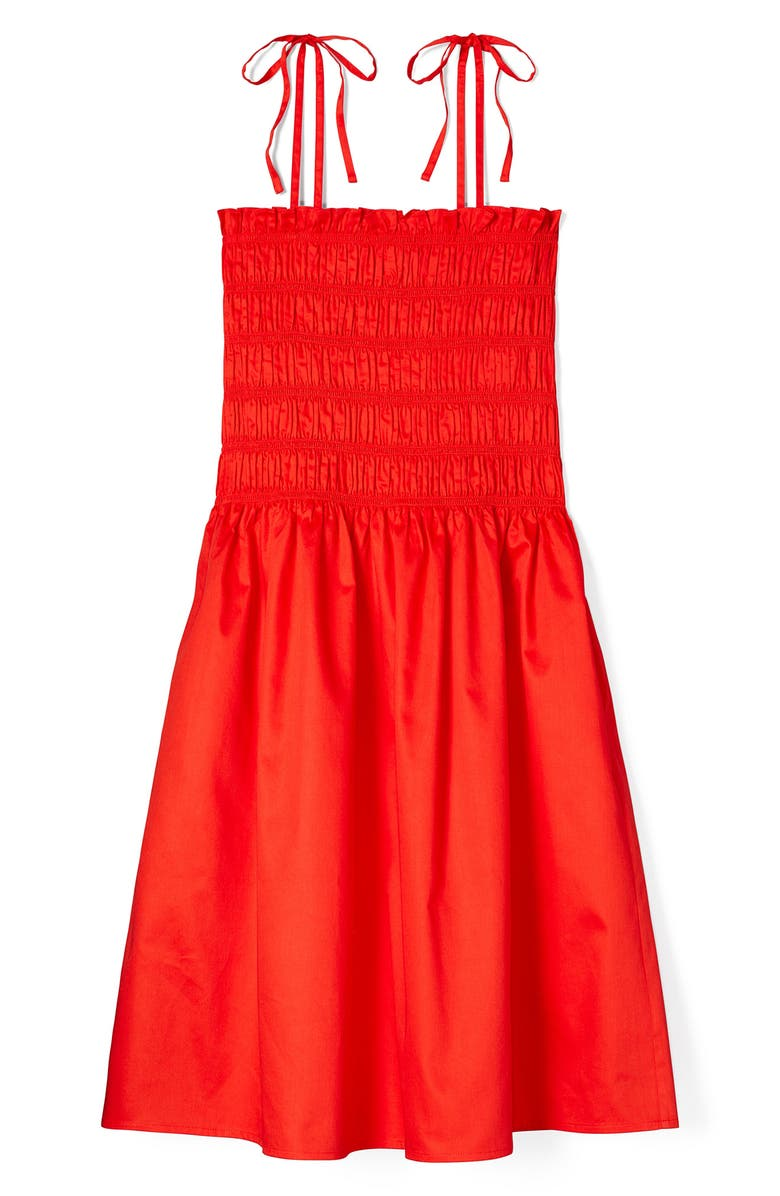 TORY BURCH Smocked Tie Strap Dress, Main, color, RED
