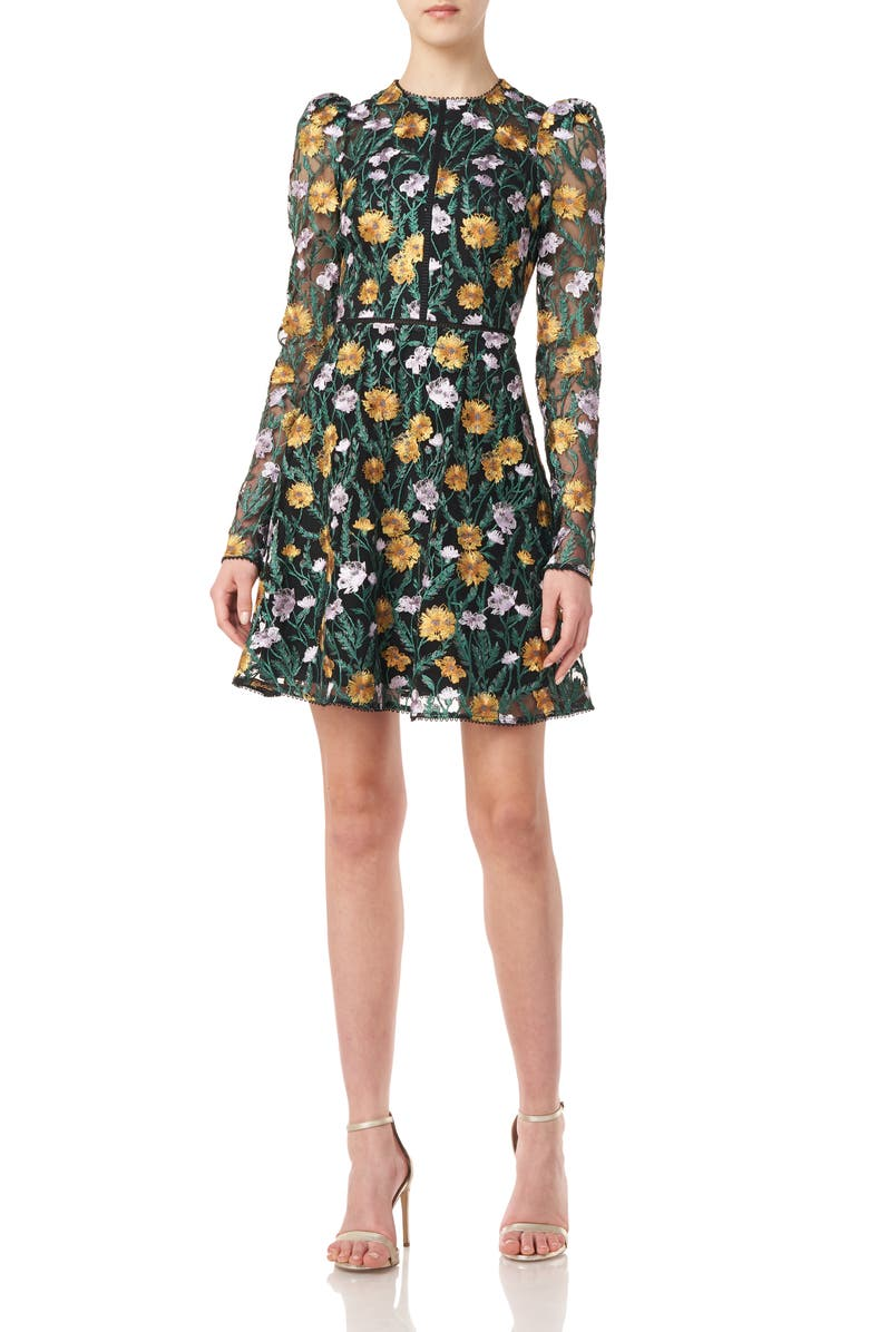 ML MONIQUE LHUILLIER Floral Embroidered Mesh Long Sleeve Minidress, Main, color, 001