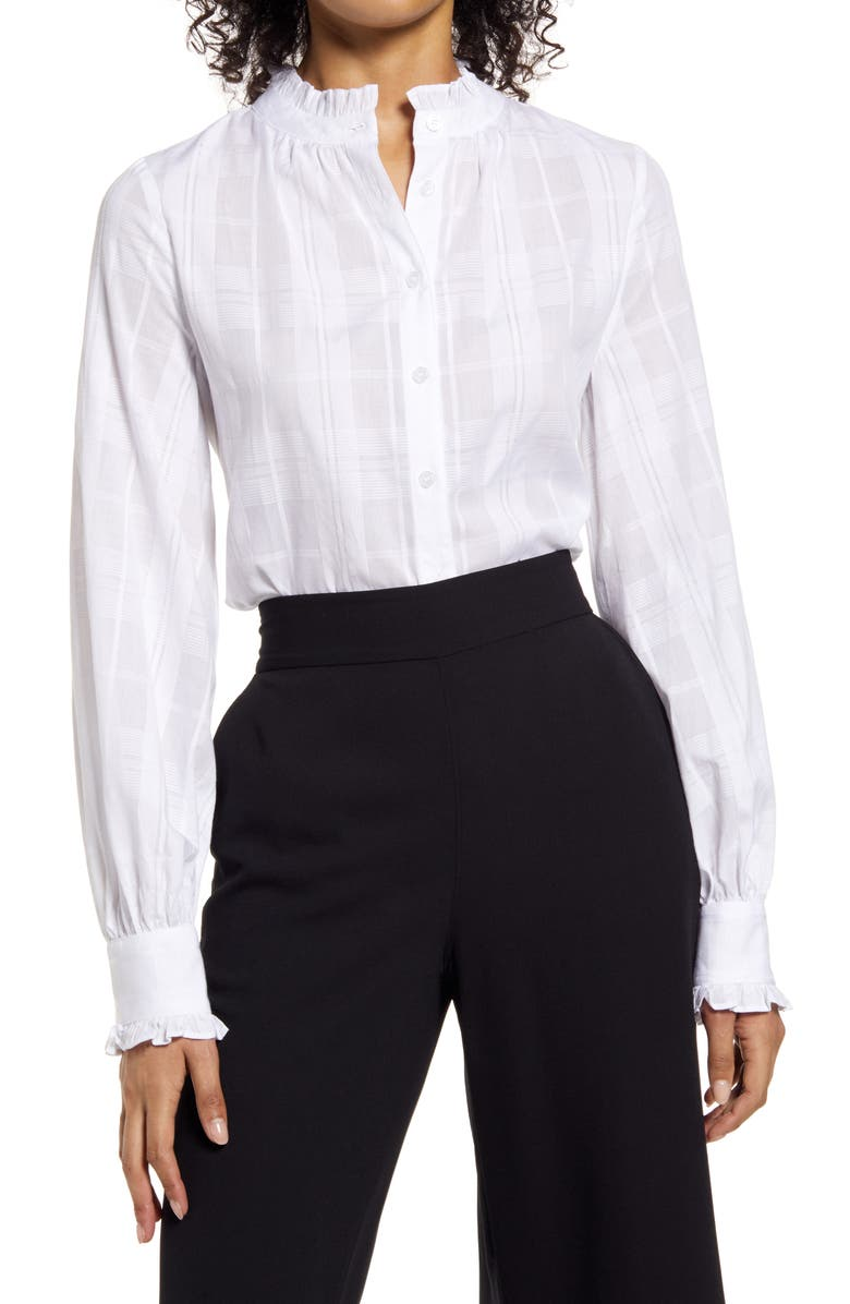 HALOGEN<SUP>®</SUP> Ruffle Button-Up Blouse, Main, color, WHITE