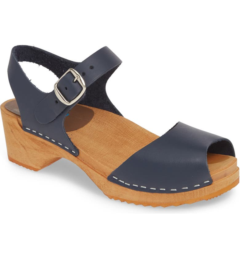 MIA 'Anja' Clog Sandal, Main, color, NAVY LEATHER