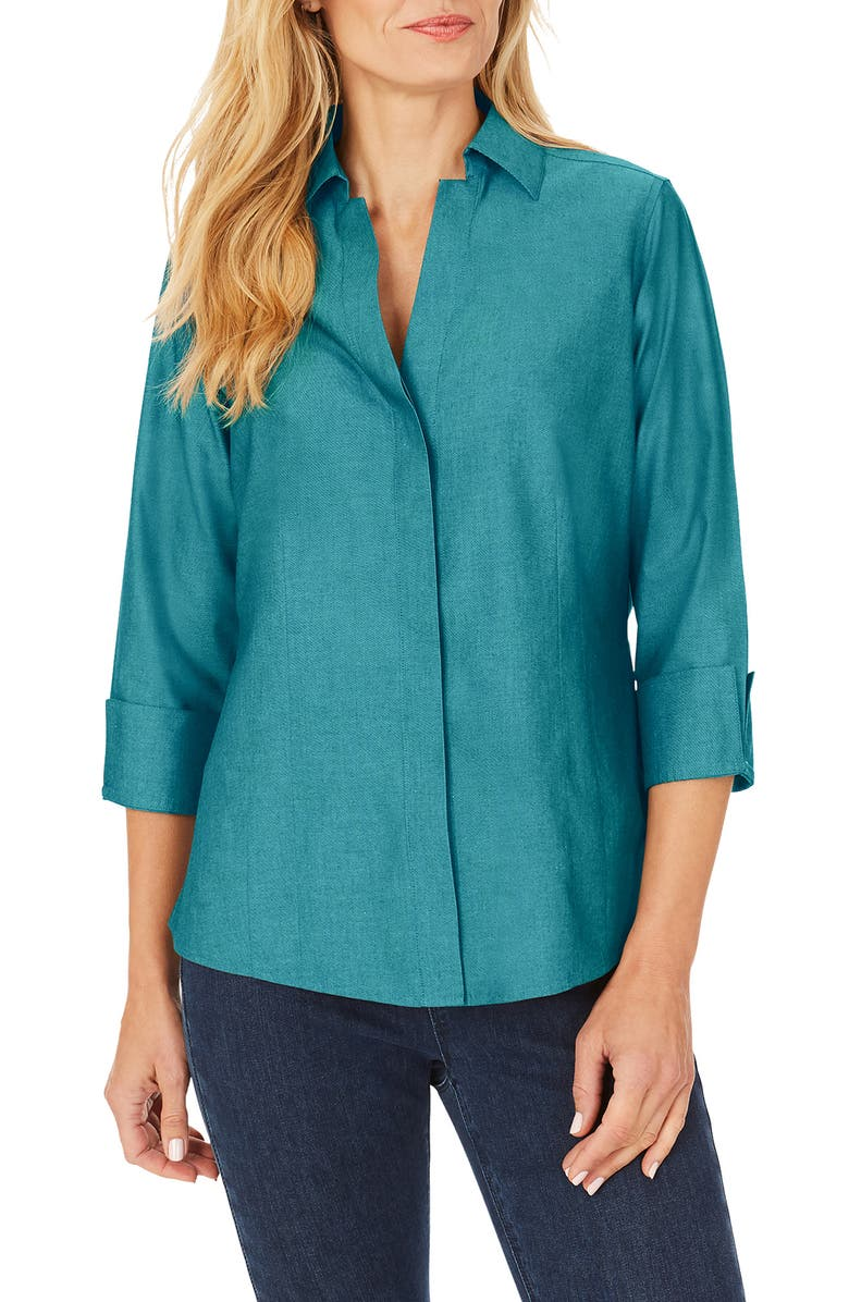 FOXCROFT Taylor Fitted Non-Iron Shirt, Main, color, ALPINE