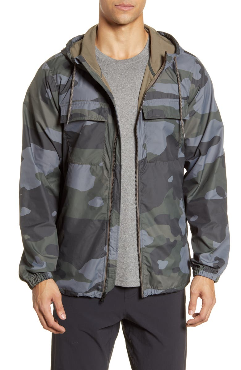 ALO Stride Camo Hooded Jacket, Main, color, BLACK CAMOUFLAGEDNU