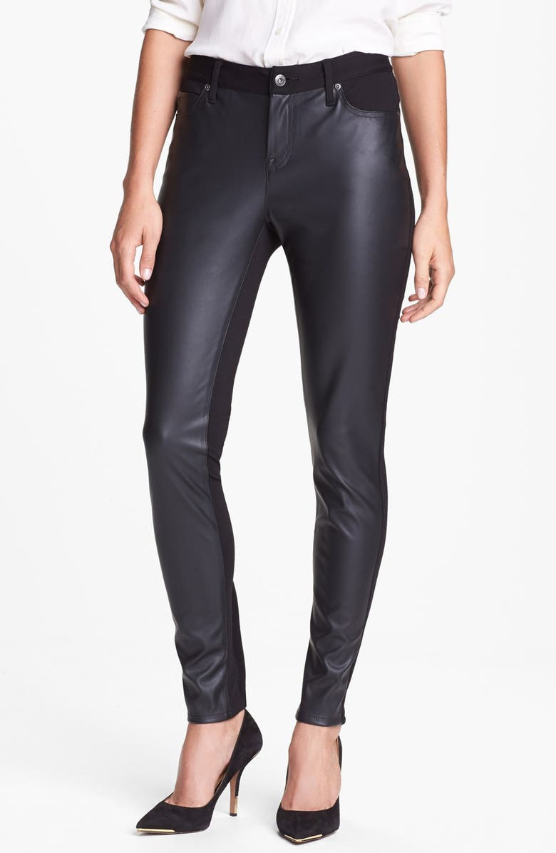 TWO BY VINCE CAMUTO Faux Leather & Ponte Skinny Pants, Main, color, 001