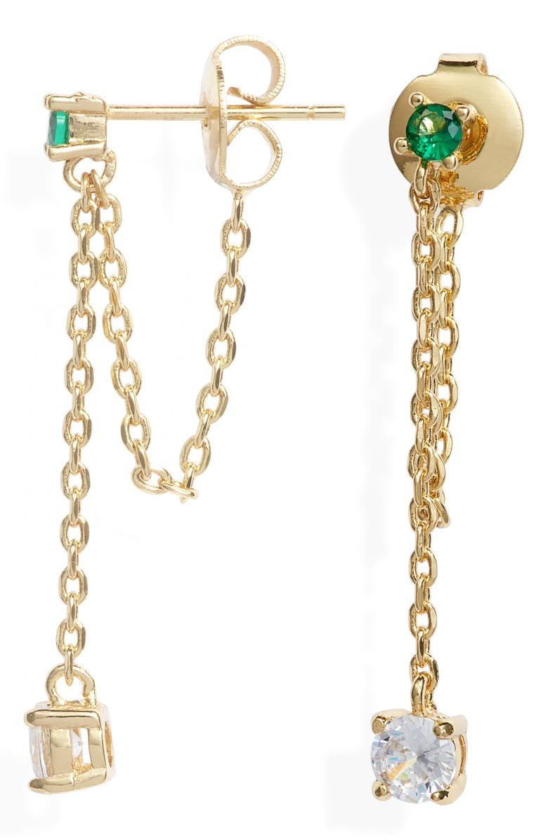 MELINDA MARIA Ray Drop Chain Earrings, Main, color, EMERALD