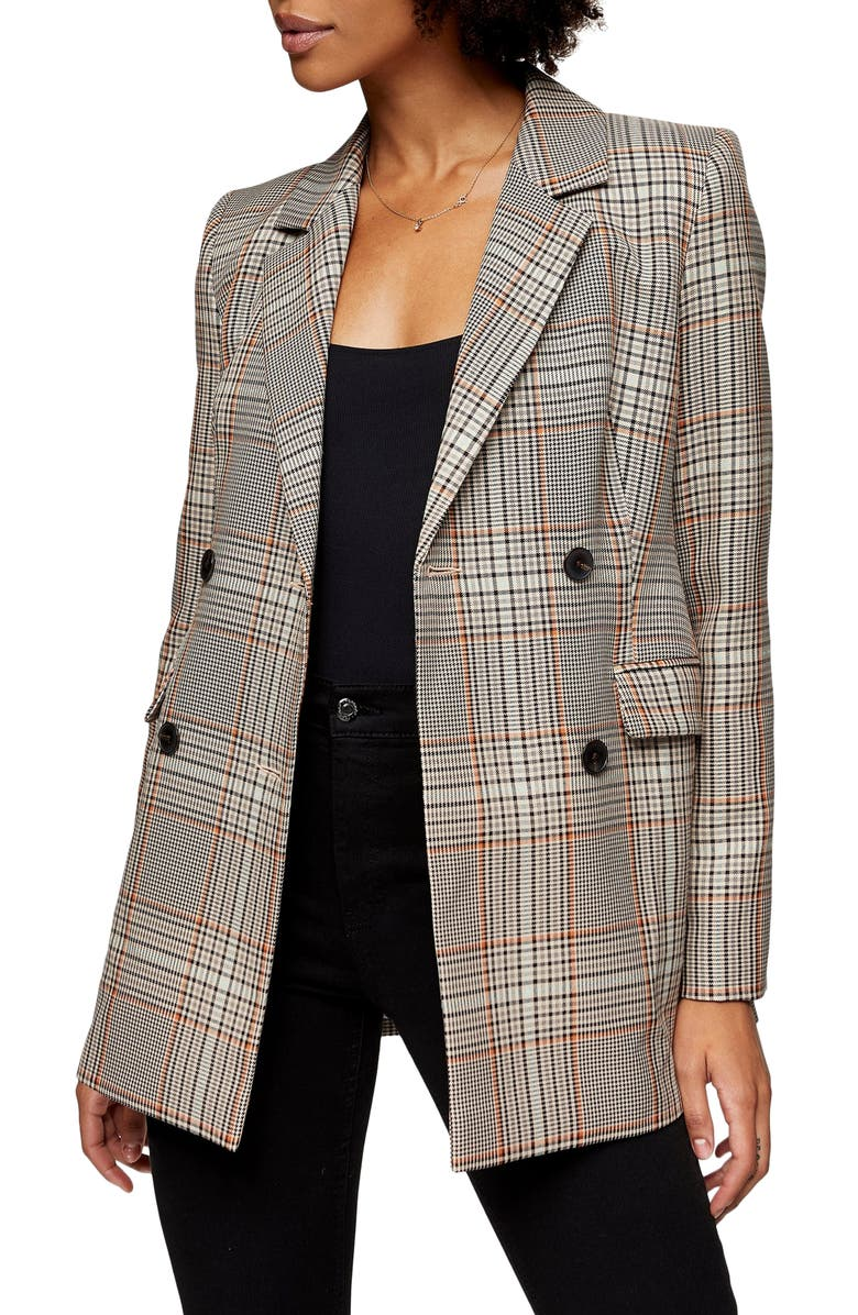 TOPSHOP Glen Plaid Double Breasted Blazer, Main, color, 200