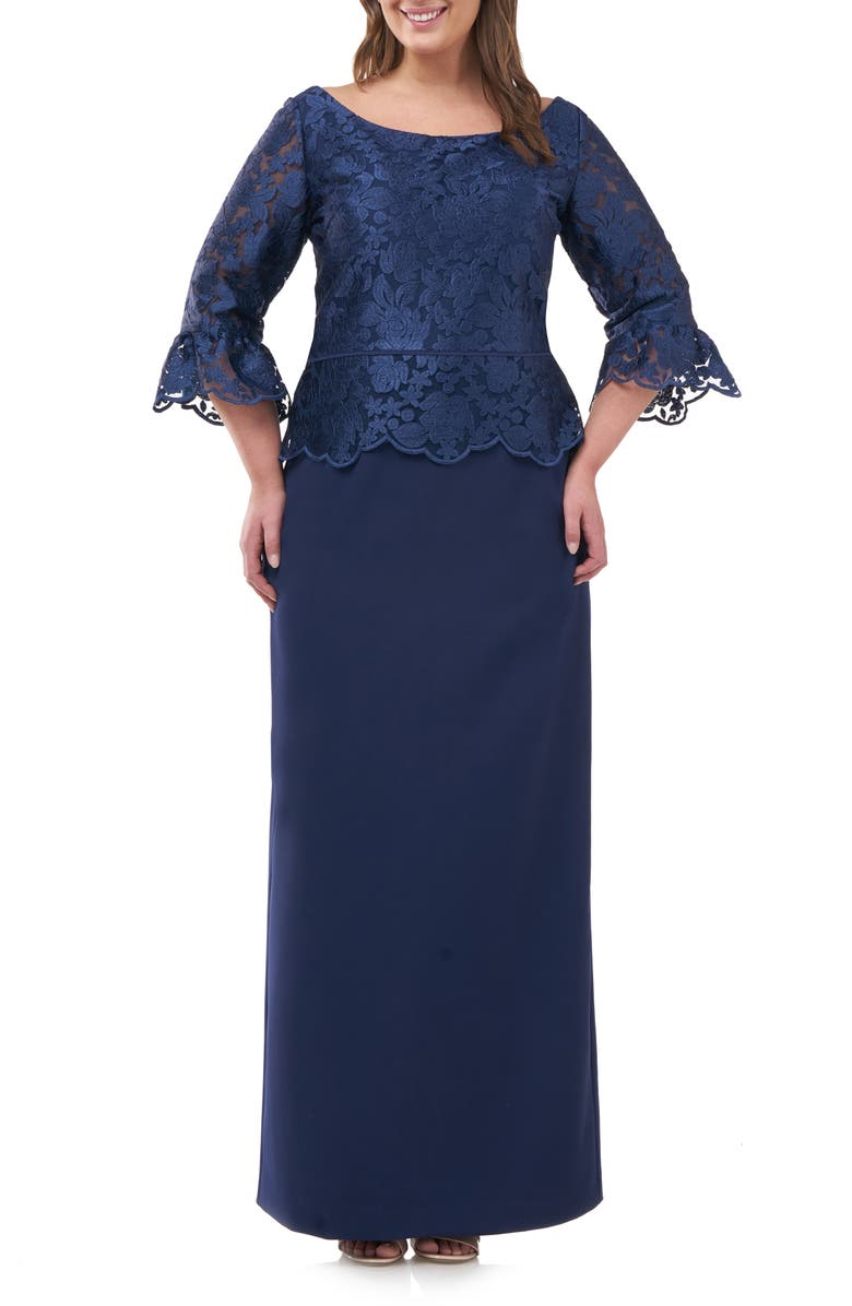 JS COLLECTIONS Embroidered Peplum Column Gown, Main, color, NAVY