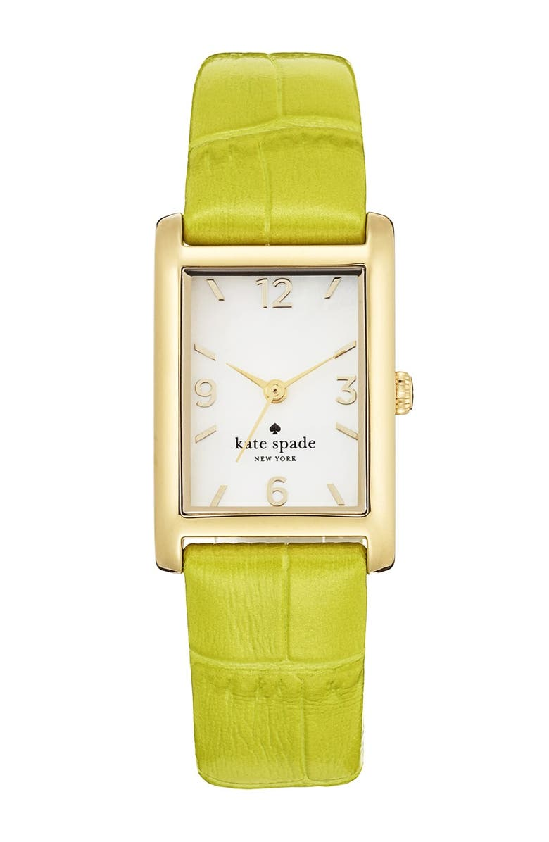 KATE SPADE NEW YORK 'cooper' leather strap watch, 21mm x 32mm, Main, color, CITRON/ GOLD