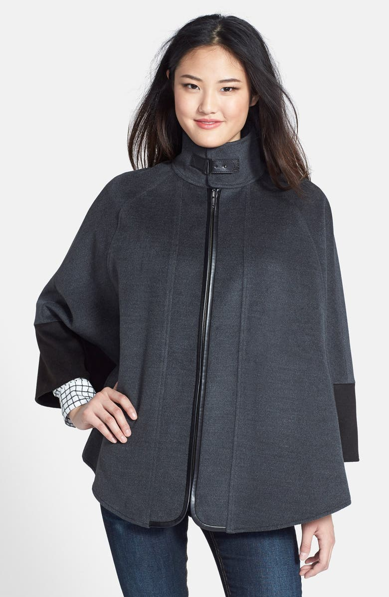 NORDSTROM Faux Leather Trim Colorblock Cape, Main, color, 020