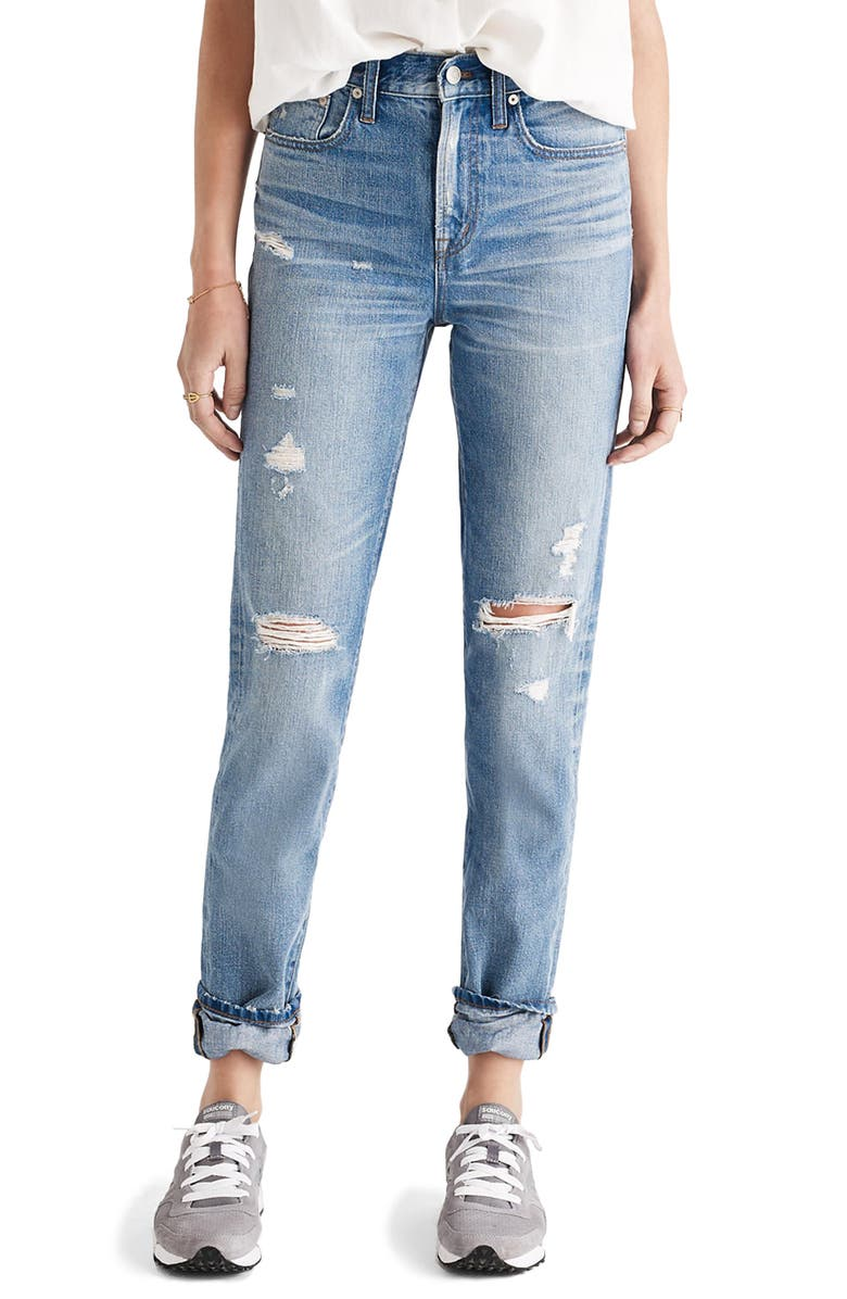 MADEWELL Perfect Vintage Ripped High Waist Boyfriend Jeans, Main, color, 400